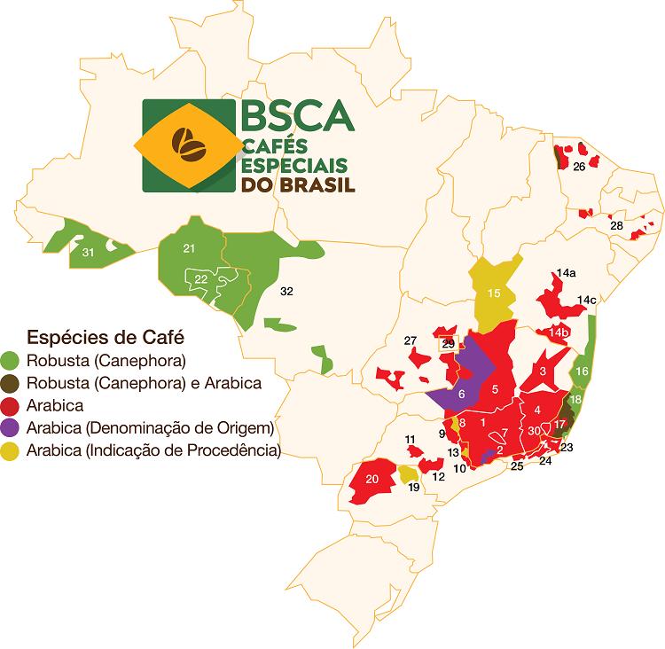 Mapa do Brasil com alguns estados destacados