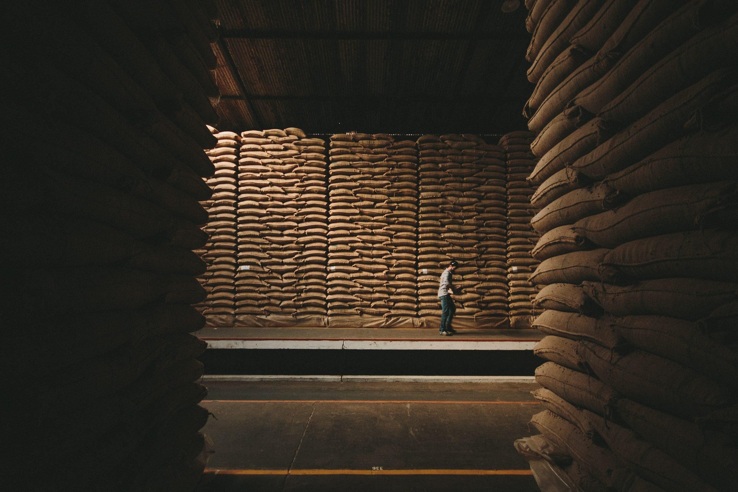 Pilhas enormes de sacas de café com homem na frente delas.