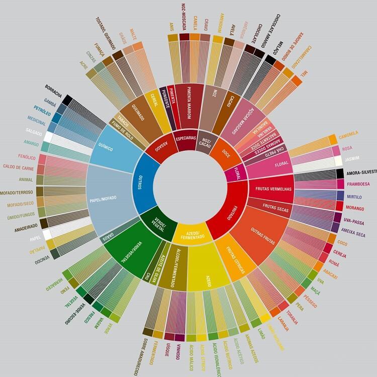 Rodas dos sabores de uma análise do café.