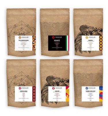 Pacotes de café variados
