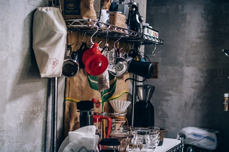 Lugar de armazenamento de equipamentos de café